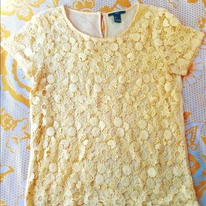 FOREVER 21 Sheer Yellow Lace Front Top Blouse